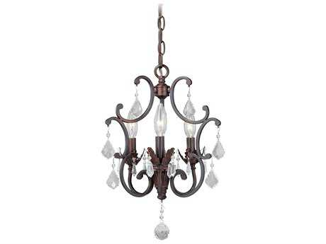 Vaxcel Perouges Weathered Patina Three-Light 13'' Wide Mini Chandelier