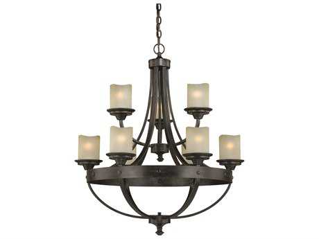 Vaxcel Halifax Black Walnut Nine Light 30 Wide Standard Chandelier