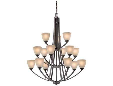 Vaxcel Helsinki Black Walnut & Honey Linen Glass 15-Light 40'' Wide Grand Chandelier