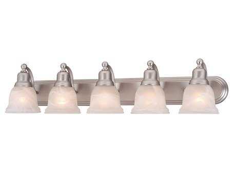 Vaxcel Lasalle Brushed Nickel & Alabaster Glass Five-Light Vanity Light