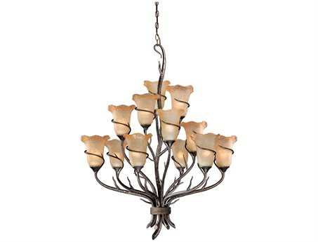 Vaxcel Monterey Autumn Patina & Umber Mist Glass 12-Light 32'' Wide Chandelier