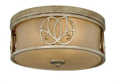 Vaxcel Newbury Venetian Brass & Sandstone Glass Two-Light 13 Flush Mount Light