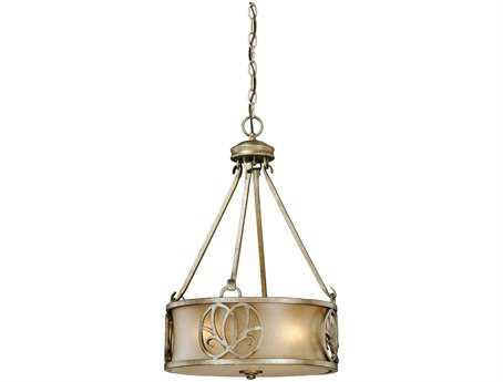Vaxcel Newbury Venetian Brass & Sandstone Glass Three-Light 15 Pendant