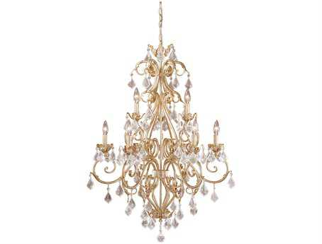 Vaxcel Newcastle Gilded White Gold Nine-Light 29'' Wide Chandelier