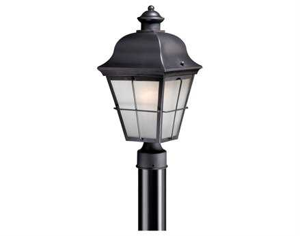 Vaxcel New Haven Dark Bronze & Frosted Seeded Glass 8 Outdoor Post Mount Lantern