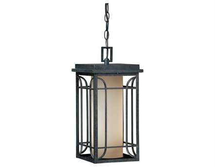 Vaxcel Newport Gold Stone & Amber Glass 8 Outdoor Hanging Light