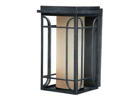 Vaxcel Newport Gold Stone & Amber Glass 8 Outdoor Wall Light
