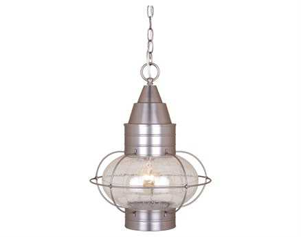 Vaxcel Chatham Brushed Nickel Seedy Glass 13 Outdoor Hanging Light
