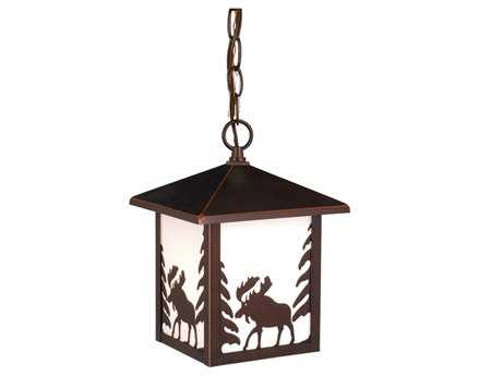 Vaxcel YellowStone & Burnished Bronze & White Tiffany Glass 8 Outdoor Hanging Light