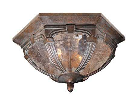 Vaxcel Essex Royal Bronze & Seeded Glass Two-Light 13 Outdoor Ceiling Light