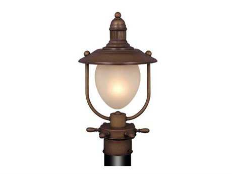 Vaxcel Orleans Antique Red Copper & Frosted Glass 8.5 Outdoor Post Mount Lantern