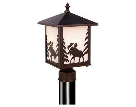Vaxcel Yellowstone Burnished Bronze & White Tiffany Glass 8 Outdoor Post Mount Lantern