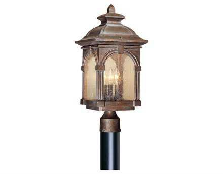 Vaxcel Essex Royal Bronze & Seeded Glass Three-Light 9 Outdoor Post Mount Lantern