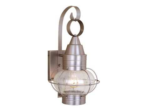 Vaxcel Chatham Brushed Nickel & Seedy Glass 8 Outdoor Wall Light