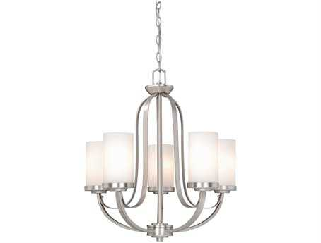 Vaxcel Oxford Brushed Nickel & Frosted Opal Glass Five-Light 23'' Wide Chandelier