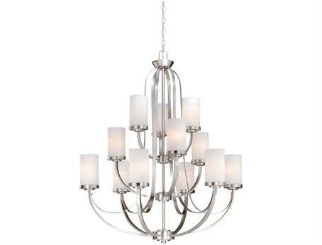 Vaxcel Oxford Brushed Nickel & Frosted Opal Glass 12-Light 36'' Wide Chandelier