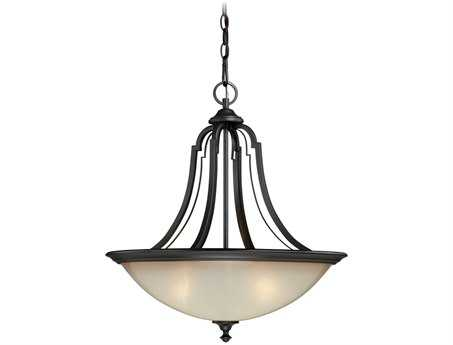 Vaxcel Elba New Bronze & Champagne Glass Three-Light 21 Pendant