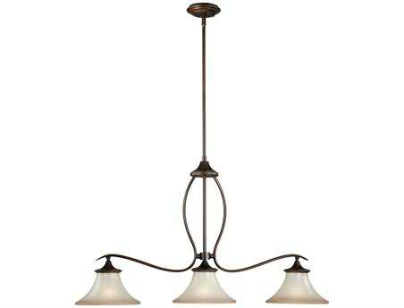 Vaxcel Sonora Venetian Bronze & Champagne Glass Three-Light Kitchen Island Light