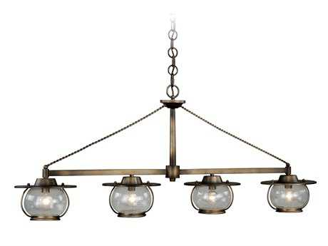 Vaxcel Jamestown Parisian Bronze & Seeded Glass Four-Light Island Light