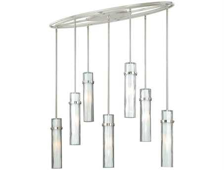 Vaxcel Vilo Satin Nickel & Outer Water Glass with Inner Frosted Opal Glass Seven-Light Island Light