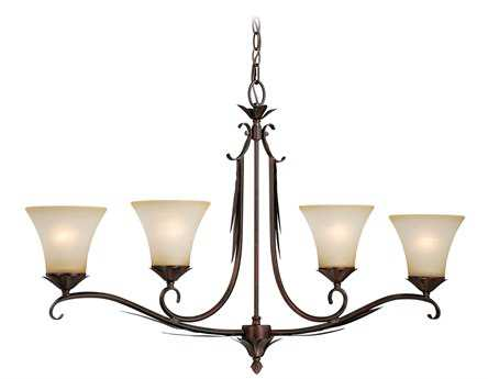 Vaxcel Coricelli Royal Bronze & Brushed Cognac Glass Four-Light Island Light
