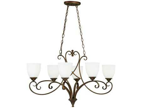 Vaxcel Claret Venetian Bronze & Etched White Glass Six-Light Island Light