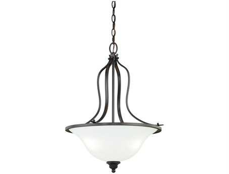 Vaxcel Darby New Bronze & Etched White Glass Three-Light 18 Pendant