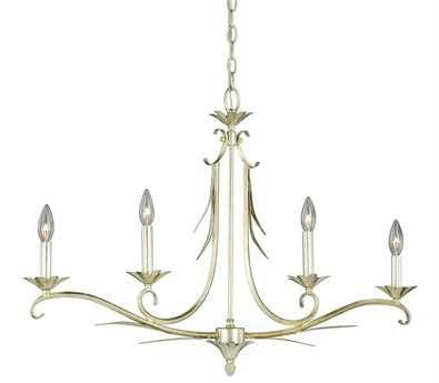 Vaxcel Austen Silver Leaf Four-Light 37 Island Light