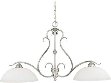 Vaxcel Hartford Satin Nickel Two-Light 36.5'' Wide Island Ceiling Light