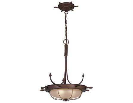 Vaxcel Orleans Antique Red Copper & Frosted Glass Three-Light 19 Pendant