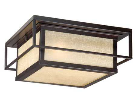 Vaxcel Hyde Park Espresso Bronze & Honey Linen Glass Two-Light 12 Outdoor Ceiling Light