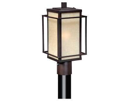 Vaxcel Hyde Park Espresso Bronze & Honey Linen Glass 7 Outdoor Post Mount Lantern