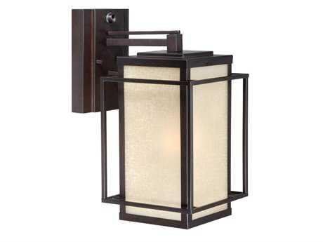 Vaxcel Hyde Park Espresso Bronze & Honey Linen Glass 7 Outdoor Wall Light
