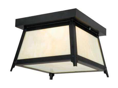 Vaxcel Prairieview Dark Bronze & Tiffany Glass Two-Light 9 Outdoor Ceiling Light