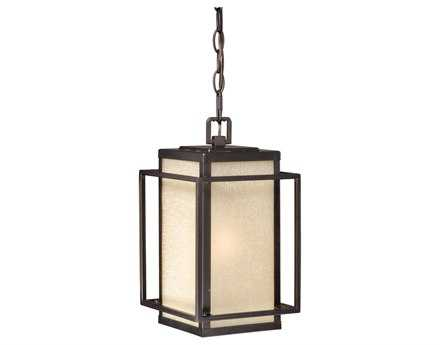Vaxcel Hyde Park Espresso Bronze & Honey Linen Glass 7-1/4 Outdoor Hanging Light