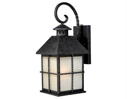Vaxcel Savannah Gold Stone & Creme Cognac Glass 8 Outdoor Wall Light
