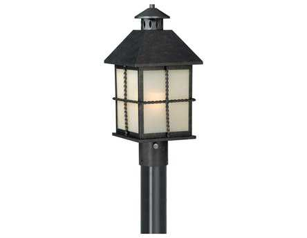 Vaxcel Savannah Gold Stone & Creme Cognac Glass 8 Outdoor Post Mount Lantern