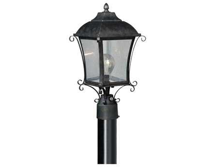 Vaxcel Sonnet Gold Stone & Seeded Glass 8-3/4 Outdoor Post Mount Lantern