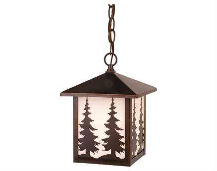 Vaxcel Yosemite Burnished Bronze & Tiffany Glass 8 Outdoor Hanging Light