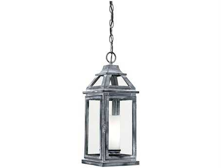 Vaxcel Lockport Weathered Black & Clear Glass 7 Outdoor Hanging Light