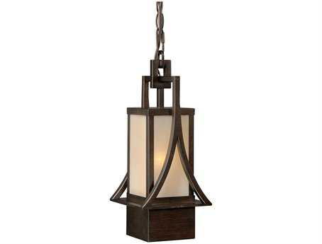 Vaxcel Osaka Venetian Bronze & Champagne Glass 8-1/4 Outdoor Hanging Light