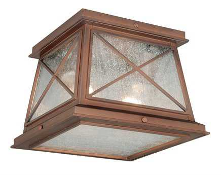 Vaxcel Mackinac Antique Red Copper & Seeded Glass Two-Light 9 Outdoor Flush Mount