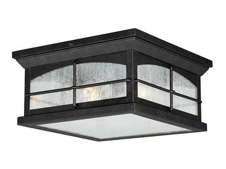 Vaxcel Bembridge Gold Stone & Clear Seeded Glass Two-Light 11 Outdoor Flush Mount