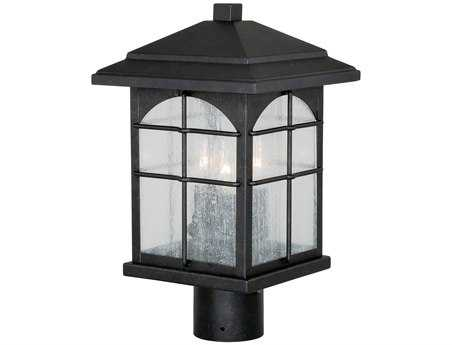Vaxcel Bembridge Gold Stone & Clear Seeded Glass Three-Light 9 Outdoor Post Mount Lantern