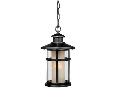 Vaxcel Cadiz Oil Rubbed Bronze & Outer Clear Glass / Inner Amber Glass 8 Outdoor Hanging Light