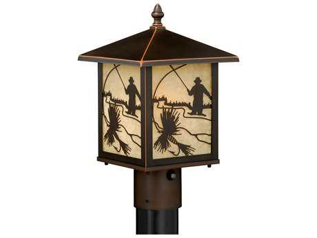 Vaxcel Mayfly Burnished Bronze 8'' Wide Outdoor Post Light