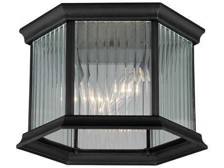 Vaxcel Kingston Textured Black Two-Light 9'' Wide Outdoor Ceiling Light