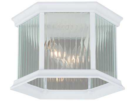 Vaxcel Kingston Textured White Two-Light 9'' Wide Outdoor Ceiling Light