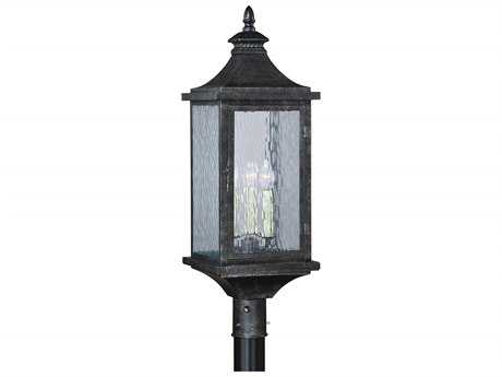 Vaxcel Cavanaugh Athenian Bronze Three-Light 10'' Wide Outdoor Post Light with Ripple Glass Shade