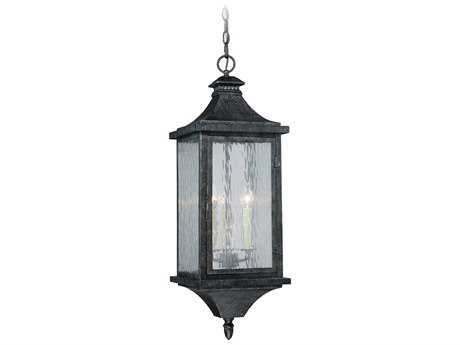 Vaxcel Cavanaugh Athenian Bronze Three-Light 10'' Wide Outdoor Hanging Light with Ripple Glass Shade